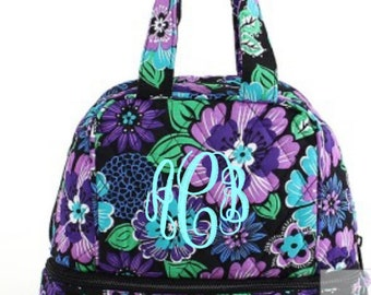 Monogram Purple Floral Quilted Lunch Bag