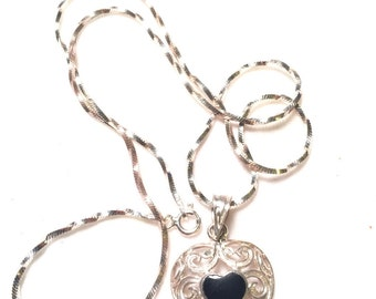 925 sterling silver heart with onyx  heart necklace