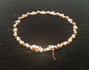 Gold over 925 sterling silver bracelet with CZ