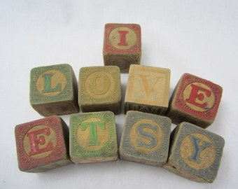 Ships Free!! Vintage 1930's Toy Wooden Blocks With Letters And Pictures Set Of 25, Ships FREE Within The US