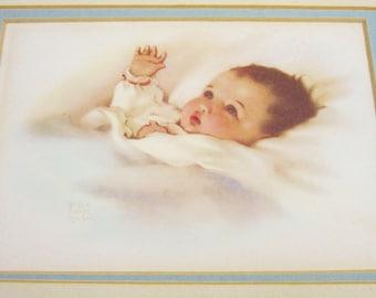 Vintage Framed Art Print BESSIE PEASE GUTMANN Awakening Baby Nursery 10 x 8