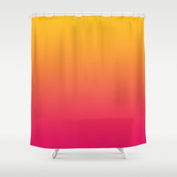Sunset Yellow Orange Red Ombre Shower Curtain By