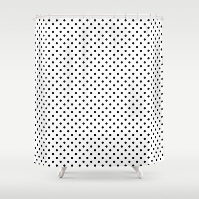 shower curtain black and white polka dots by kalilainedesigns. Black Bedroom Furniture Sets. Home Design Ideas