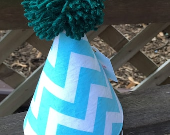 Kid's Fabric Party Hat (blue and white chevron print)