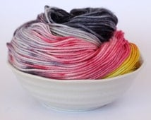 MCN DK Yarn - Hand Dyed - Merino Cashmere - Licorice Allsorts - Yellow Pink Grey Black