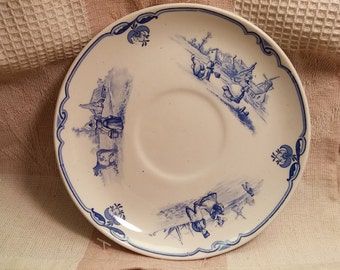 Set of 4 Blue and white saucers with Farm Scenes