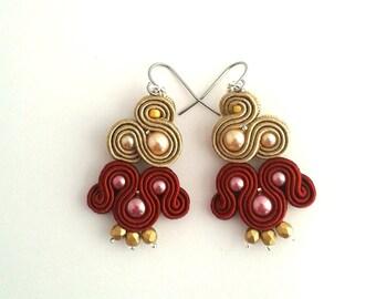 Boho earrings, burgundy earrings, dark red earrings, golden earrings, dangle earrings, bohemian earrings, pearl earrings, soutache earrings