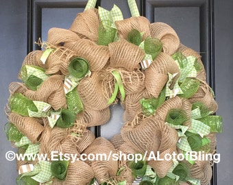 Spring - St. Patrick's Day Green/Jute Mesh Wreath
