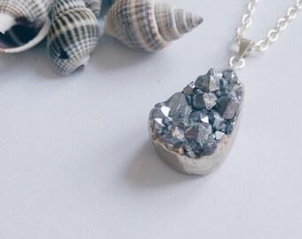 Silver Druzy Necklace, Gemstone Necklace,  Druzy Pendant