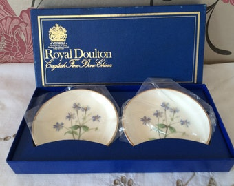 "Royal  Doulton, Fine Bone China, Boxed Set of Two ""Meadow"" Coasters/Pin Dishes/Butter Dishes. Made in England."