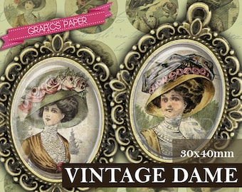 Vintage Images, Victorian woman, Hats Victorian, Digital Collage Sheet - OV26 - 30x40mm ovals - Pendants, Cabochons, printable image