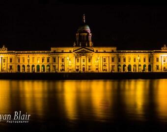 The Custom House Dublin Ireland Night Photograph - Home Wall Decor Fine Art Print