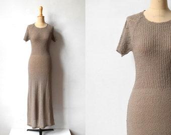 crochet knit dress / size S / maxi crochet dress / natural beige brown crochet knitted dress
