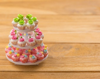 Dollhouse Miniatures Fancy Cup Cake on Tier