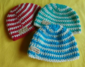 Baby beanies red green blue