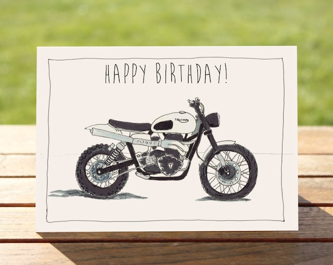 Motorcycle Birthday Card - Triumph Scrambler Motorcycle | A5 148 x 210mm (5.8 x 8.3in) |  Motorbike Gift Card, Motorcycle Gift Card
