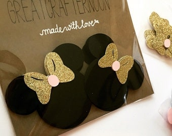 Pink and Gold Inspired Minnie Mouse, Paper Cutouts, Scrapbooking, Party Decorations, Pink and Gold, gold and pink