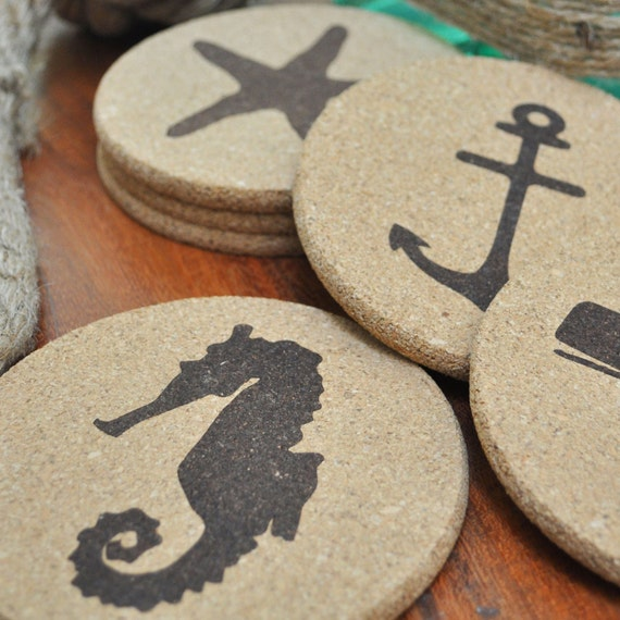Nautical Cork Coasters, Wedding Gift, Nautical Coasters, Gift Ideas, Cork Coaster Set, Beach House Gift, Cork Coasters,  Nautical Gift