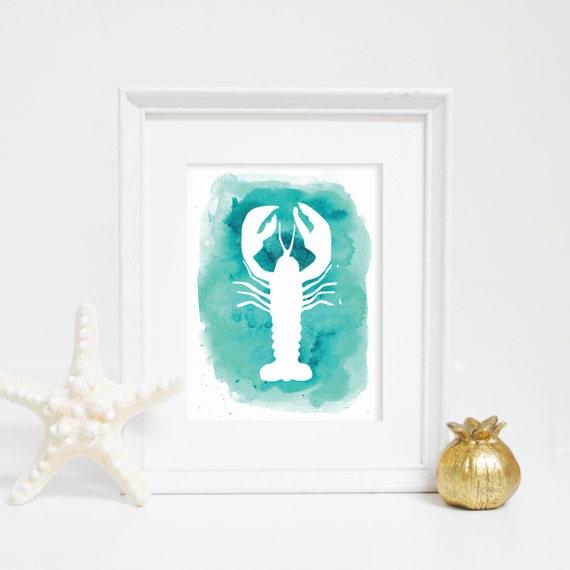 Lobster Print, Lobster Wall Art, Printable Art, Aqua Wall Decor, Digital Print, Instant Download, Watercolor Print, Nautical Art Print