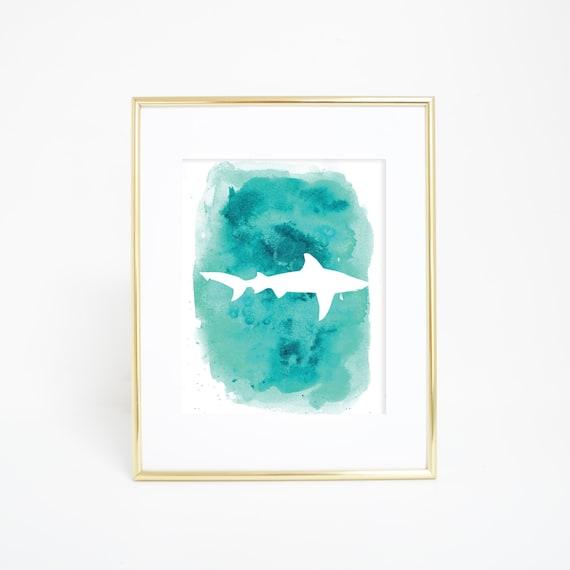 Shark Print, Shark Art, Shark Wall Art, Wall Art, Watercolor Print, Ocean Print, Beach Artwork, Aqua Print, Beach Prints, Printable Wall Art