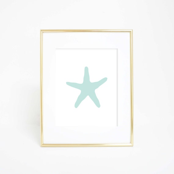 Mint Starfish Print, Digital Print, Ocean Print, Beach House Decor, Beach Wall Art, Starfish Art, Nautical Decor, Nautical Wall Art