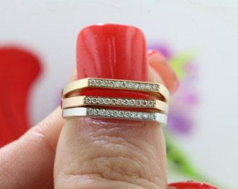 14K 1.8mm Rose Gold Diamond Stackable Bar Ring, Thin Diamond Bar Ring, Women's Diamond & Gold Horizontal Bar Ring, Diamond Bar Ring