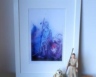 Rey & BB8, Star wars abstract, geek art, Print of my watercolor painting.