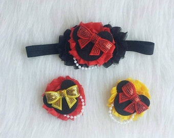 Minnie Mouse Hair Clips, Disney Clips, Minnie Mouse Bows