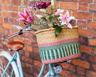 APANA: Handcrafted Pink and Turquoise Oblong Bike Basket