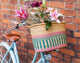 APANA: Handgefertigte Pink und Türkis längliche Fahrradkorb