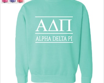 alpha delta pi a d pi sorority comfort color greek letters sweatshirt choose your color