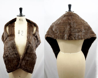 1950s Mink Fur Stole / 50s Brown Fur Wrap / Silk Lining / One Size / Real Fur Shrug / xxs xs s m l xl xxl