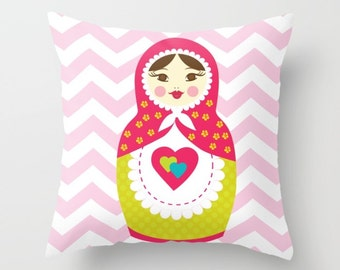 Nursery Pillow , Babushka Pillow , Kids Room Decor , Matryoshka Throw Pillow , Decorative Children's Pillow ,  girl Pillow , Kids Cushion