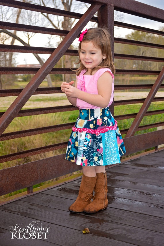 Polly's Drop Waist Skirt. PDF sewing patterns for girls sizes 2t-12