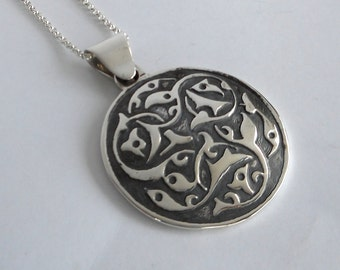 Sterling Silver Bohemian Necklace Persian Medallion Abstract Pendant Made in Montana Fine Jewelry Gift for Women Boho Jewelry Birthday Gift