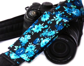 Flowers camera strap with lens pocket. Canon Nikon Camera Strap. Photo Camera Accessories.
