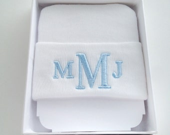 Personalized newborn boy hat - baby boy hospital hat - monogrammed baby gift - monogram baby boy - newborn hospital hat - newborn name hat -