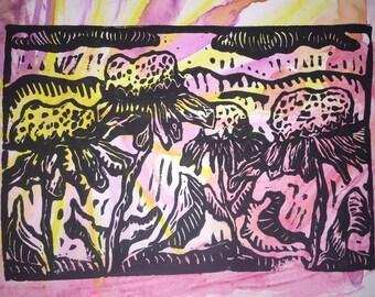 "Little Flowers Never Worry (4"" x 7"" original hand-pulled linocut print)"