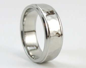 steel ring mens hammered ring stainless band mens wedding band gift for - Non Traditional Wedding Rings