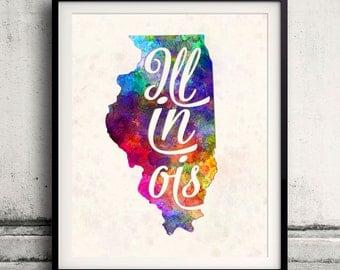 Illinois - Map in watercolor - Fine Art Print Glicee Poster Decor Home Gift Illustration Wall Art USA Colorful - SKU 1771