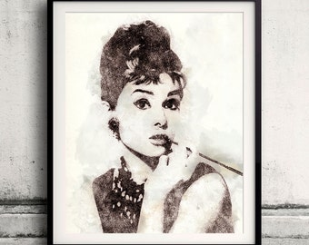 Audrey Hepburn portrait 04 in pen & watercolor - Fine Art Print Glicee Poster Gift Illustration Artist Poster - SKU 1944