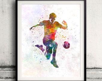 Man soccer football player 09 - poster watercolor wall art gift splatter sport soccer illustration print artistic - SKU 1453
