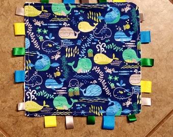 Crinkle Ribbon Blanket w/ Minky -- Whales/Nautical