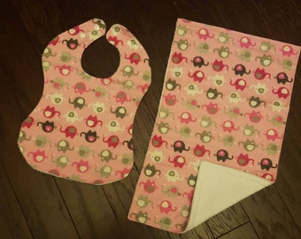 Pink and Gray Elephant Theme Bib and Burp Cloth Bundle! Bundle only bibs or only burp cloths at checkout!!