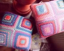 Granny pillow, cotton crochet pillow, Granny Square, Handmade pillowcase, Pillow for Baby, Cotton pillow,