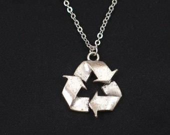 recycle symbol necklace, long necklace option, silver recycle symbol charm, save Mother Earth, Earth Day, environment, best friend gift