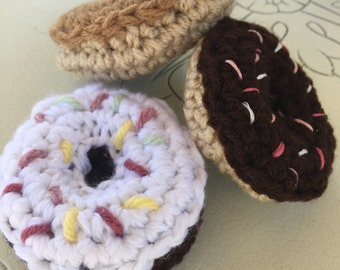 Crochet Donut, Ready to Ship, Donut play food, Donut cat toy, Donut Key chain, Doughnut Toy, Donut pincushion, Donut toy food, Donut Plush