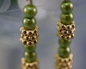 Green Glass Pearl Drop Earrings with Gold Accents