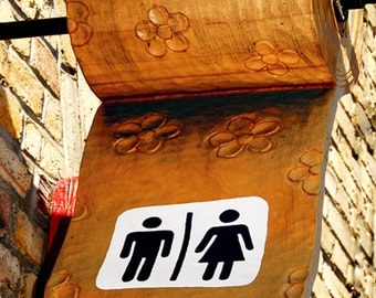 Color Photograph, Toilette Sign, Quebec Canada