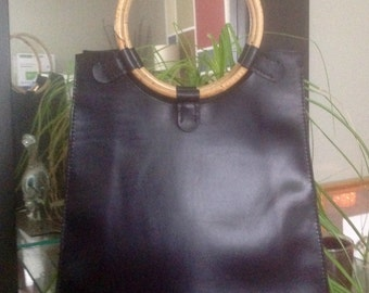 Sample Sale, Bamboo, Women's Handmade Black Horween Essex Leather Tote